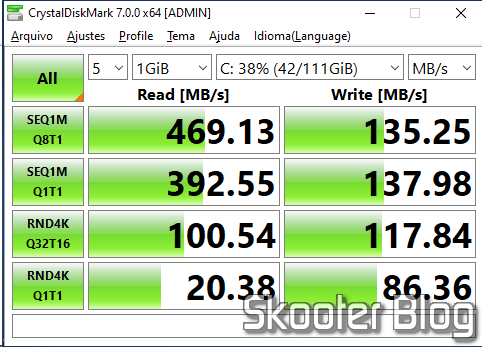 Teste do SanDisk SDSSDX120GG25 no CrystalDiskMark.