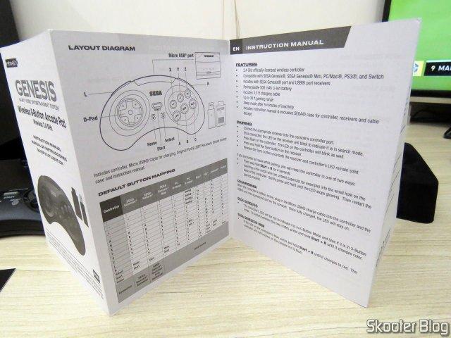 Manual de instruções do Controlador de Mega Drive Retro-Bit Sem Fio Arcade Pad 2.4 GHz.