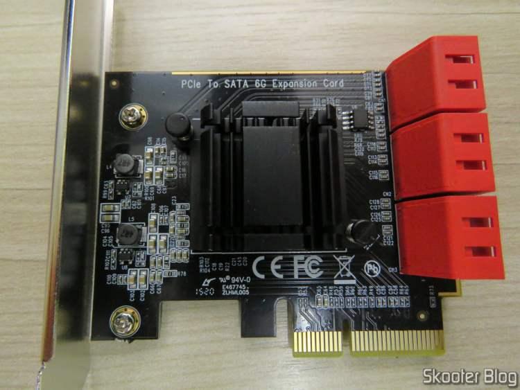 Placa PCI Express 3.0 x4 ZyDAS com 6 portas SATA 6Gbps e Controladora Asmedia ASM1166.