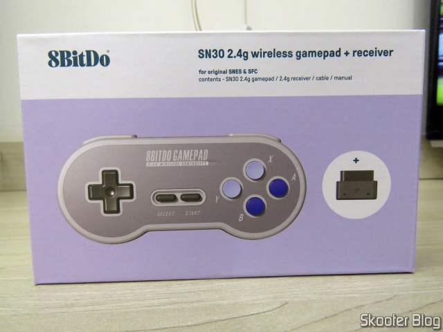 8BitDo SN30 2.4G Wireless Controller for Super Nintendo (SNES) Original, on its packaging.