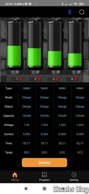 Aplicativo para Android do Carregador de Baterias Inteligente SKYRC MC3000 Universal Multi-Química Bluetooth.