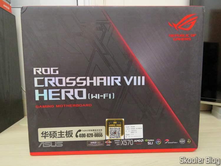 ASUS ROG Crosshair VIII Hero Wi-Fi Motherboard, on its packaging.