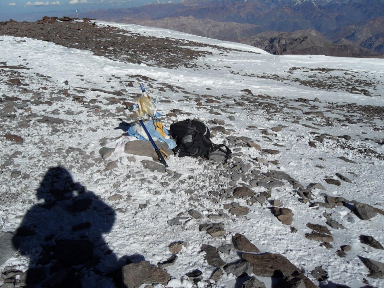 Mój cień na szczycie Aconcagua