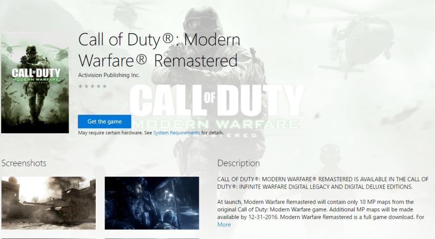 ظهور نسخة مستقلة من Modern Warfare Remaster علي Windows Store