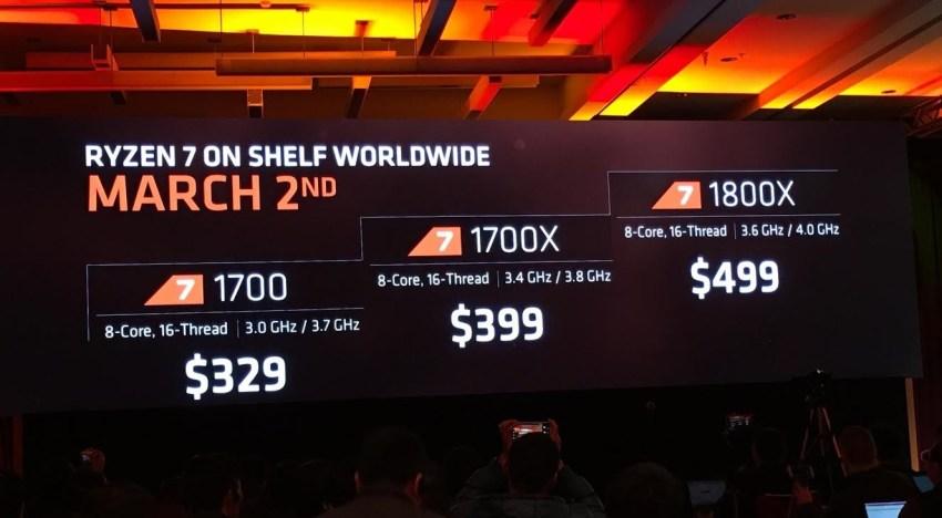 اعلان AMD عن اسعار و مواصفات اعلي فئة من معالجات Ryzen و هما 1800X, 1700X, و 1700
