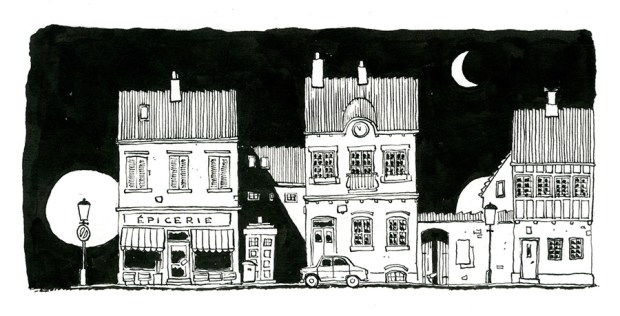 købmand gade illustration skraentskov