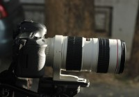 Camera with a long lens