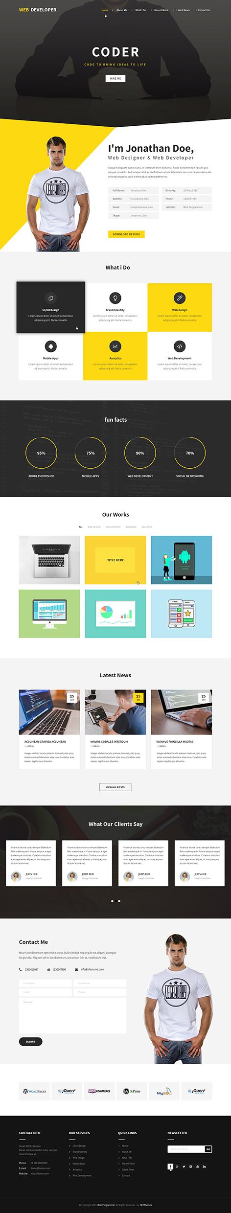 web coder WordPress theme