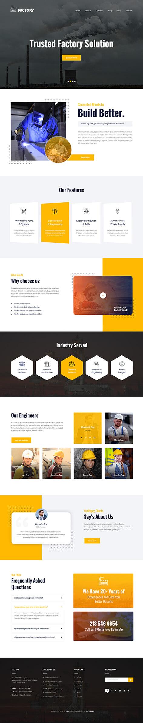 factory hub WordPress theme