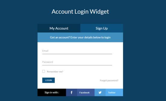 Tabbed login Widget