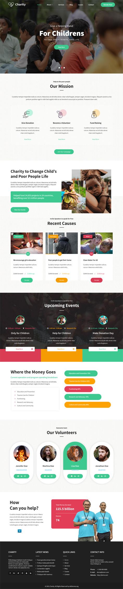 Nonprofit charity WordPress theme