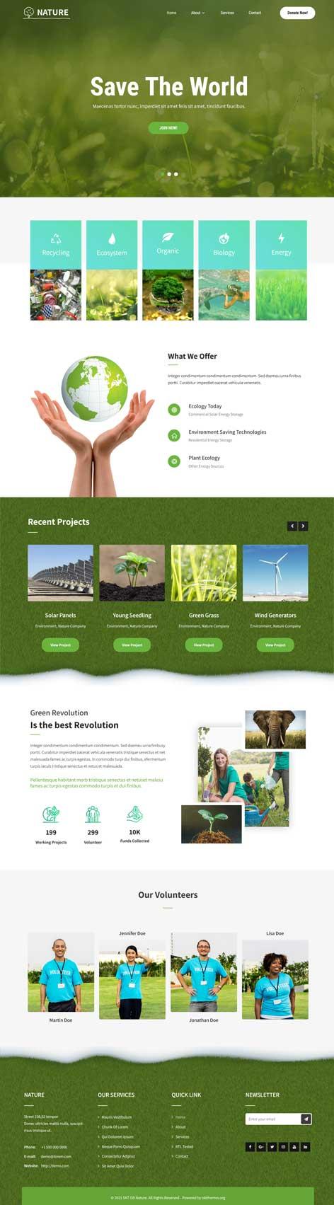 simple green WordPress theme