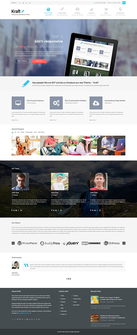 Kraft premium WordPress theme