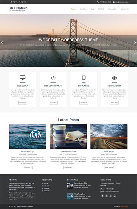 free minimal responsive WordPress theme
