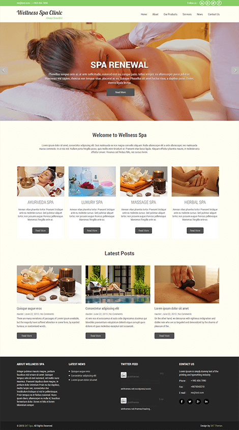 beauty spa wordpress theme free download
