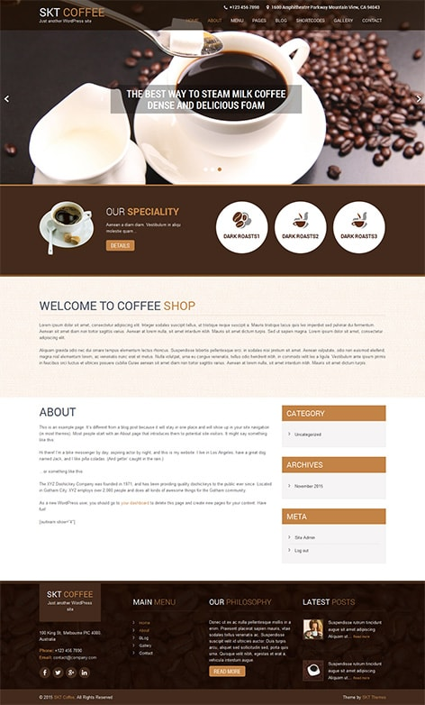 free responsive cafe and restaurant WordPress theme