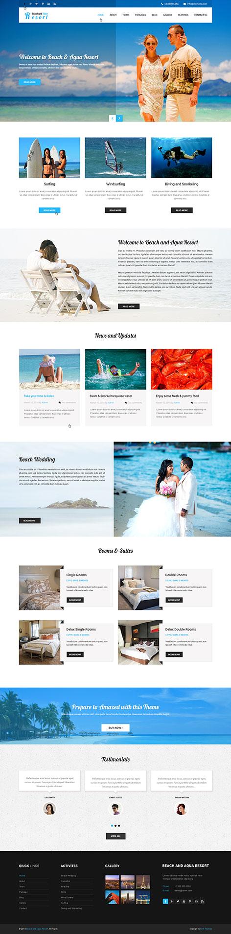 beach resort WordPress theme