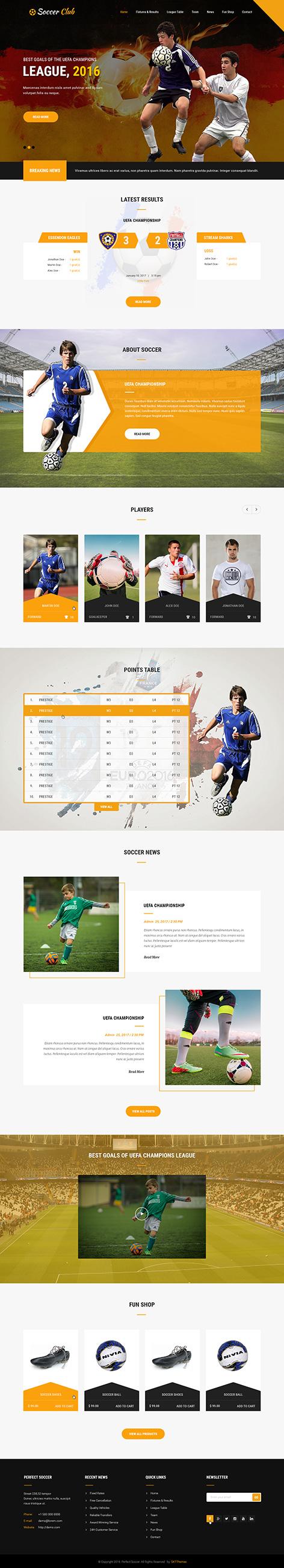 soccer sports WordPress theme