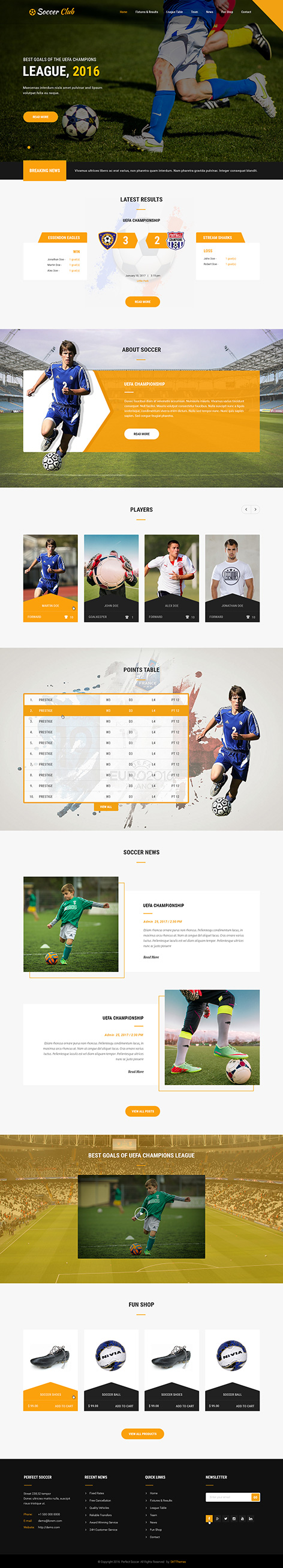 soccer sports WordPress theme