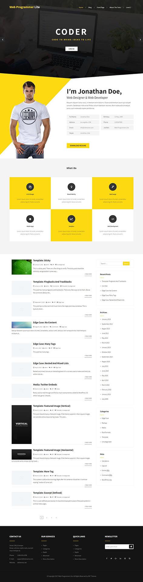 free WordPress theme for designers