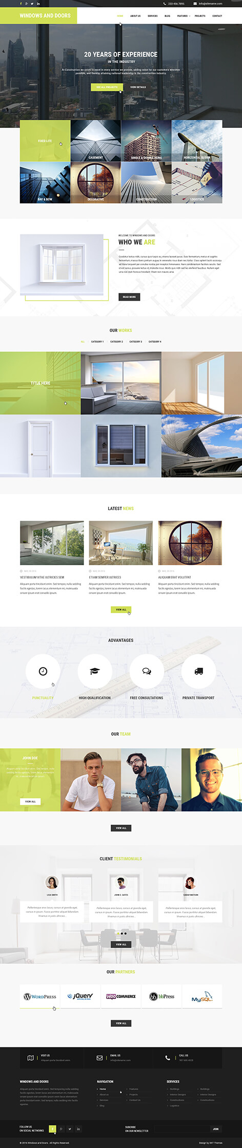 Windows and doors WordPress theme
