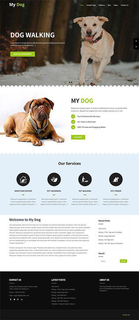 free pet WordPress theme