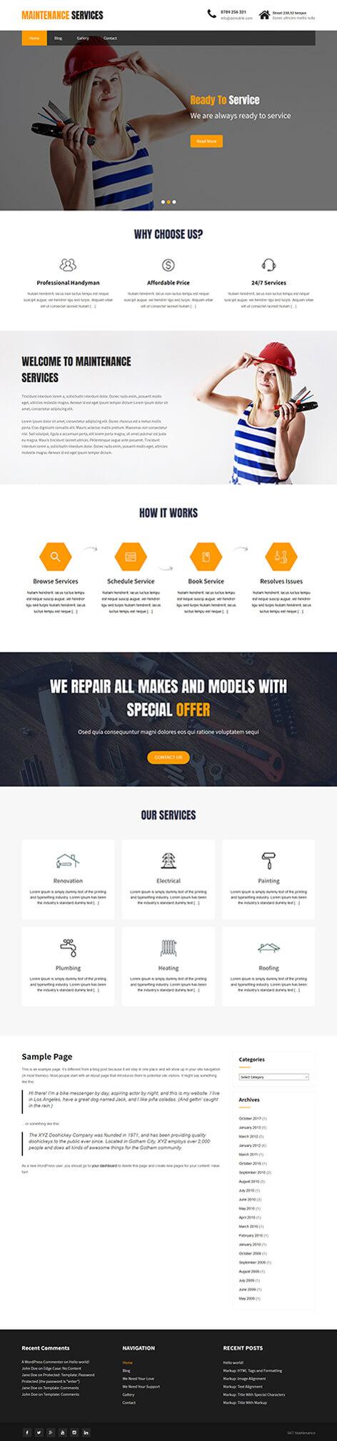 free renovation WordPress theme
