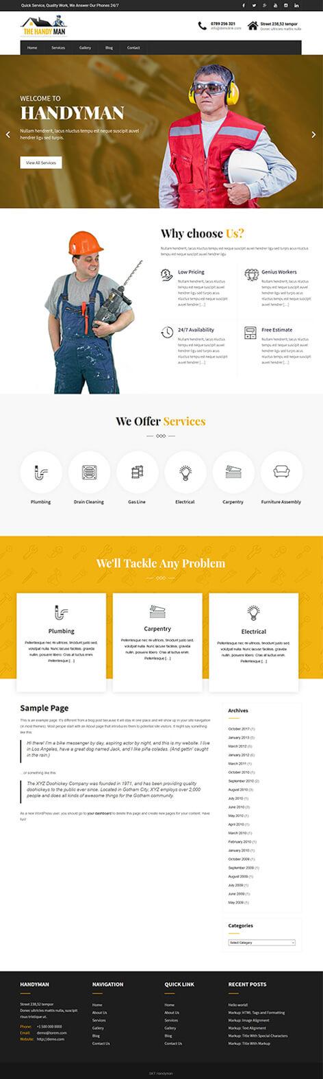 free handyman WordPress theme