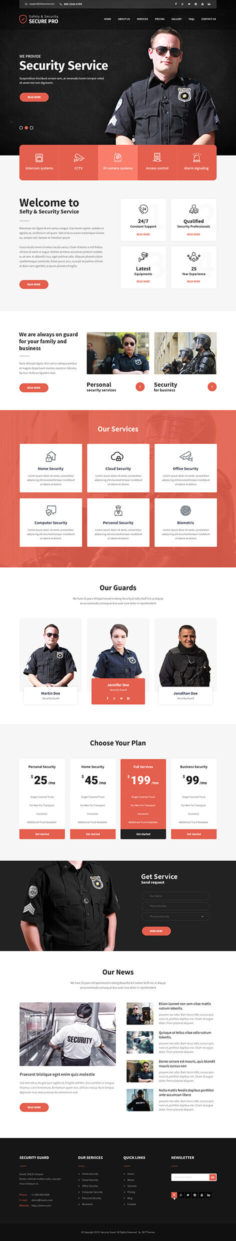 security company WordPress theme