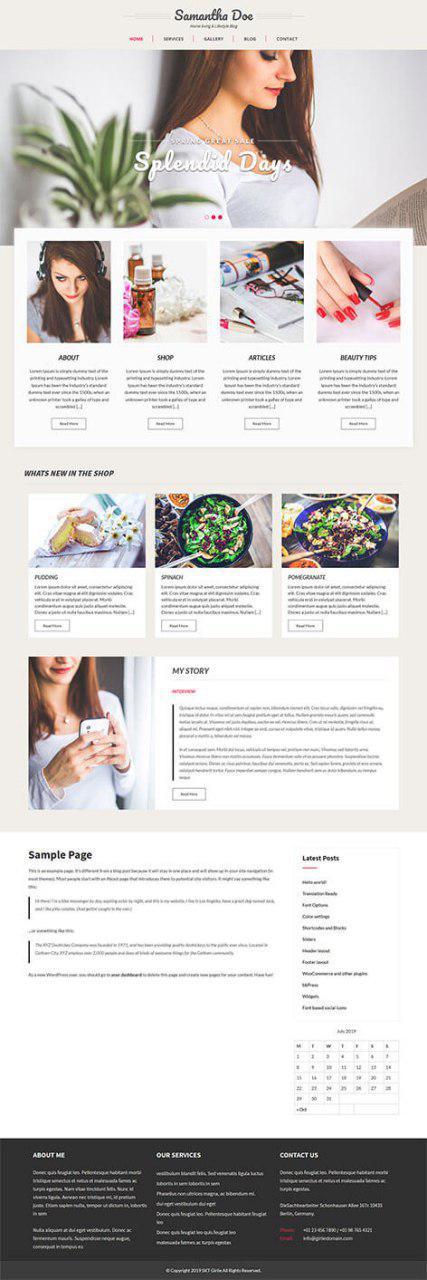 free girly WordPress theme
