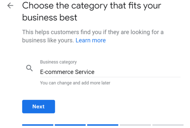 list business category