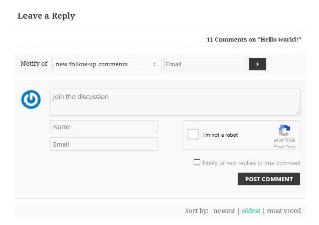 captcha spam comments protection