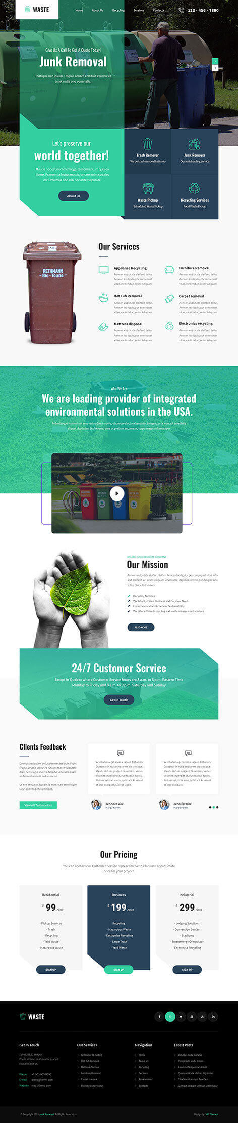 waste management WordPress theme
