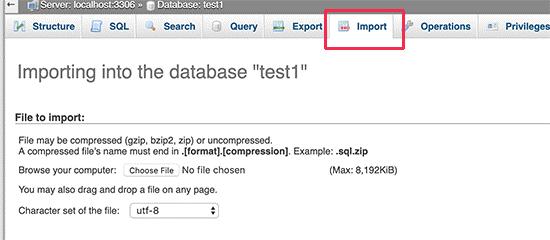 import PHPMyAdmin