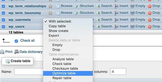 optimize table