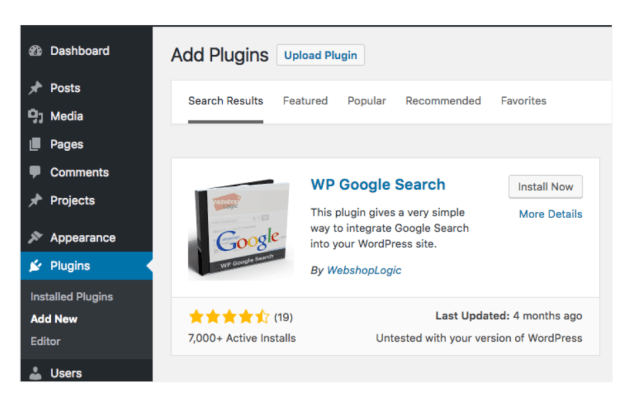 Search The Plugin
