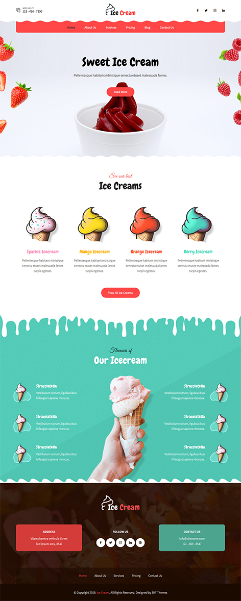 free icecream WordPress theme