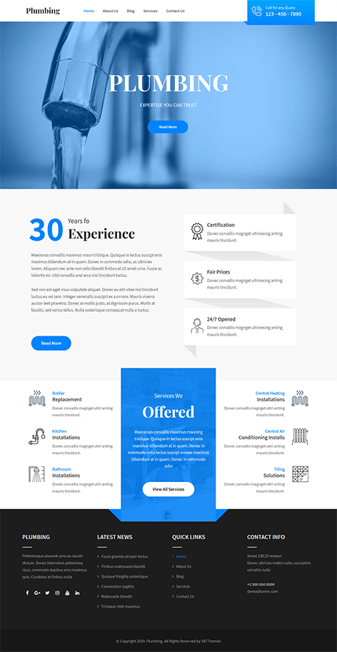 free plumber WordPress theme