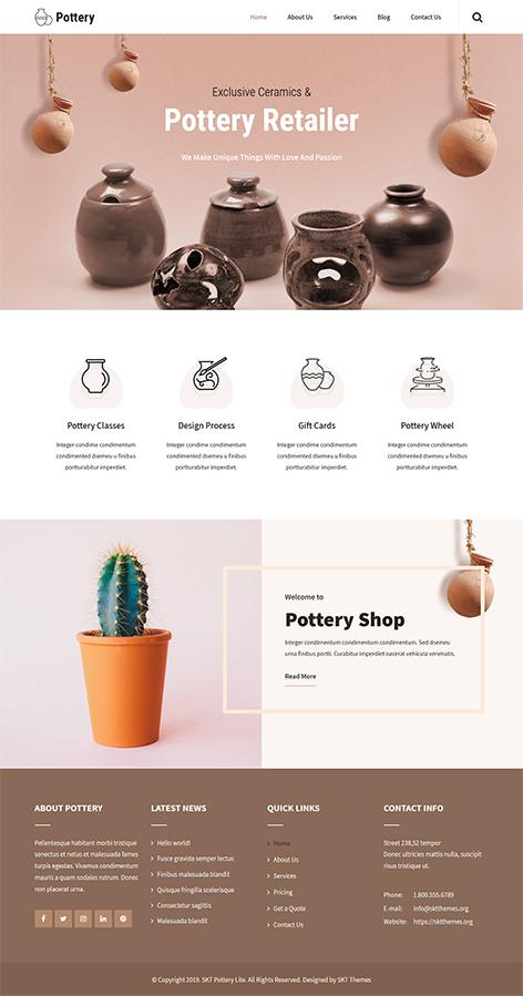 free pottery WordPress theme