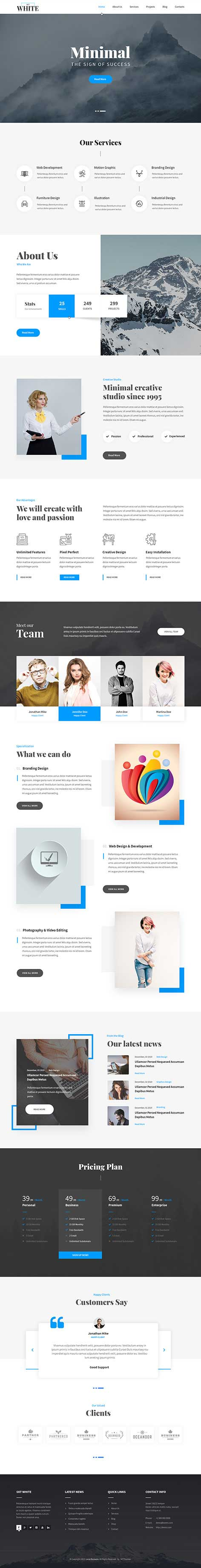 responsive white WordPress theme