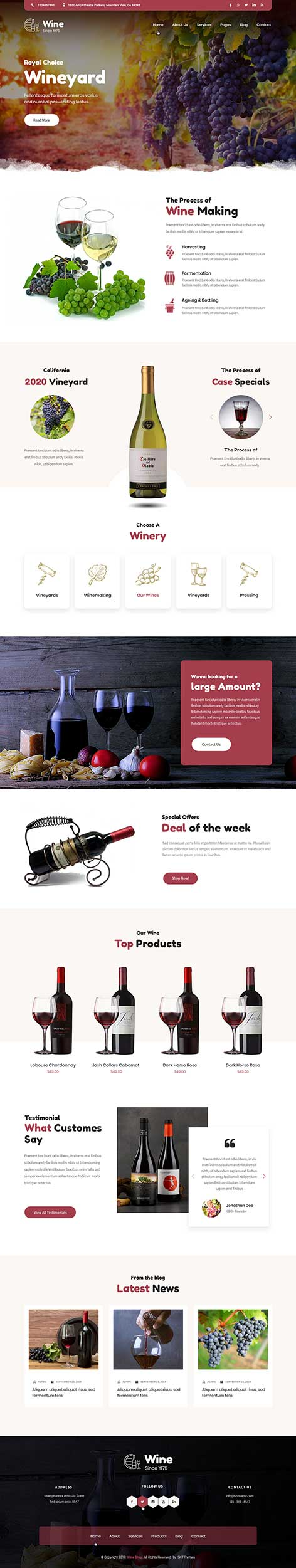 wine and brewery WordPress theme