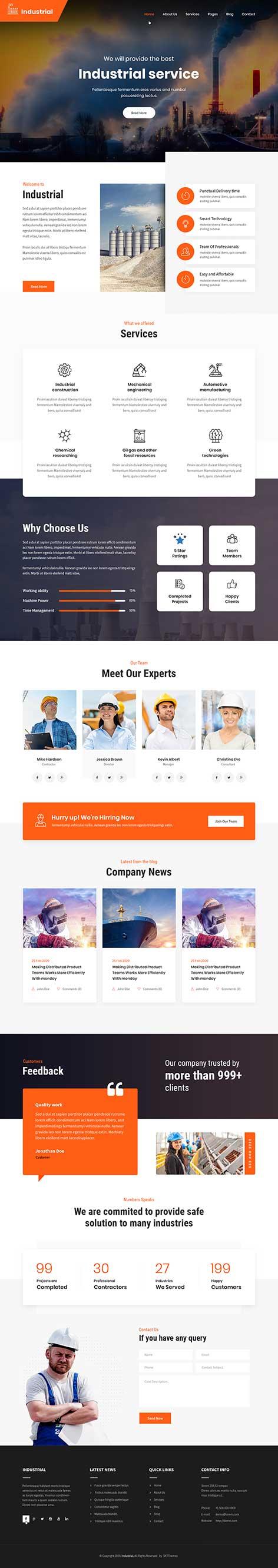 industrial and renovation WordPress theme