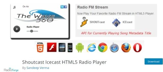 Shoutcast icecast HTML5