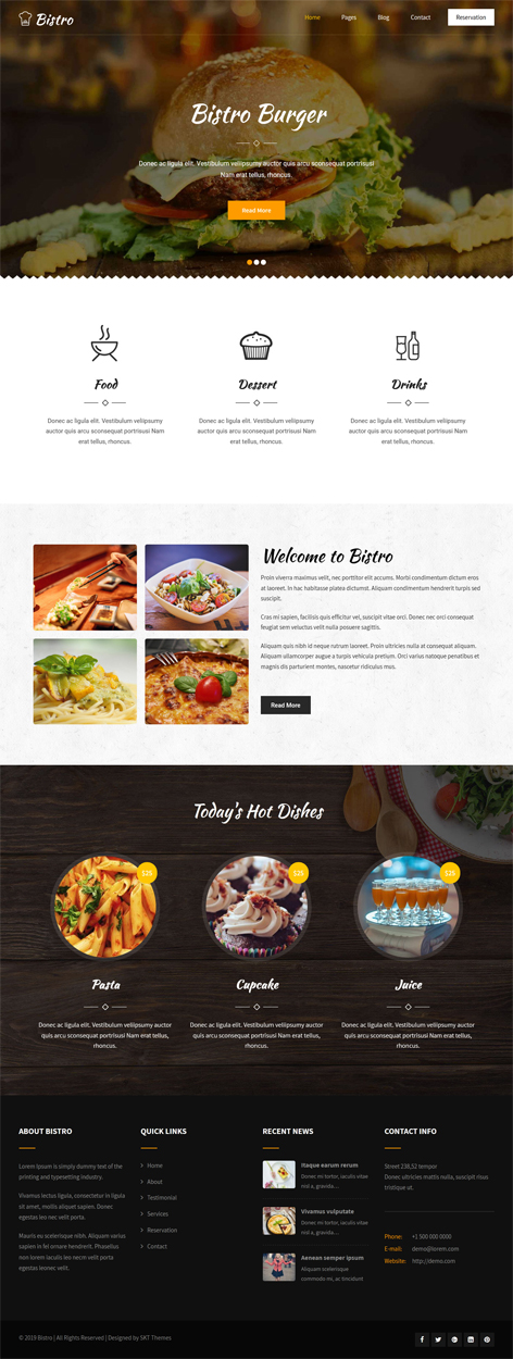 free fast food WordPress theme