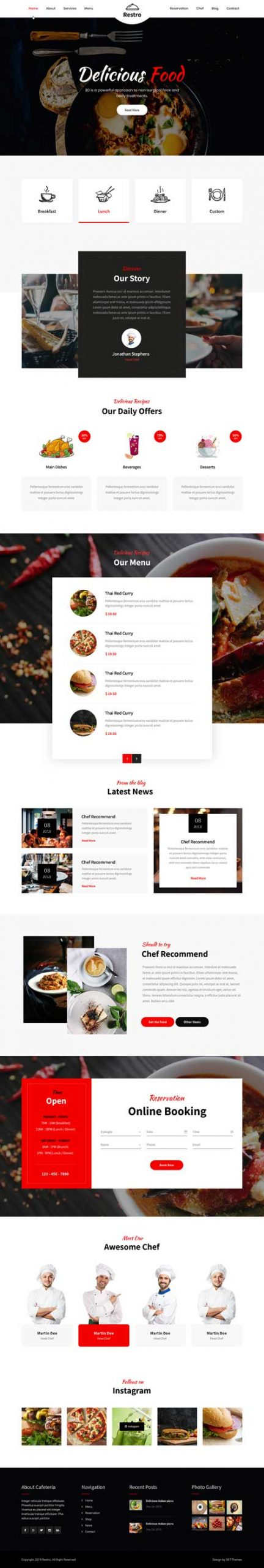 cafe and restaurant WordPress theme