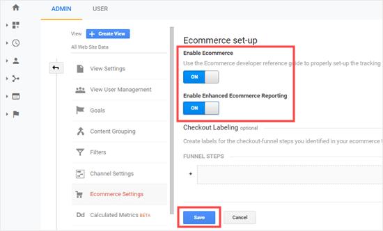 Enable Enhanced e-commerce
