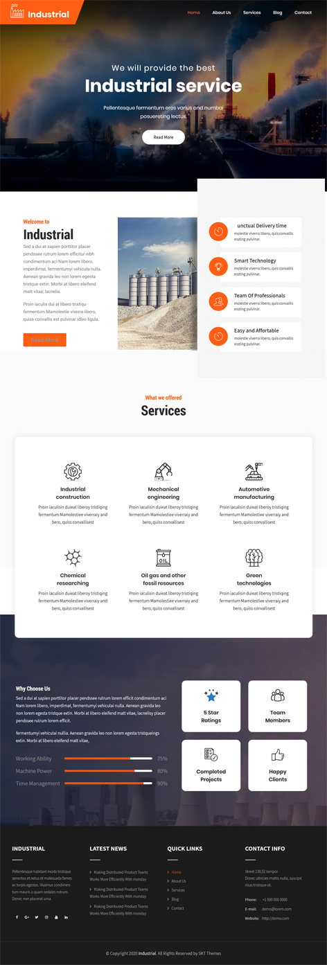 free industrial WordPress theme