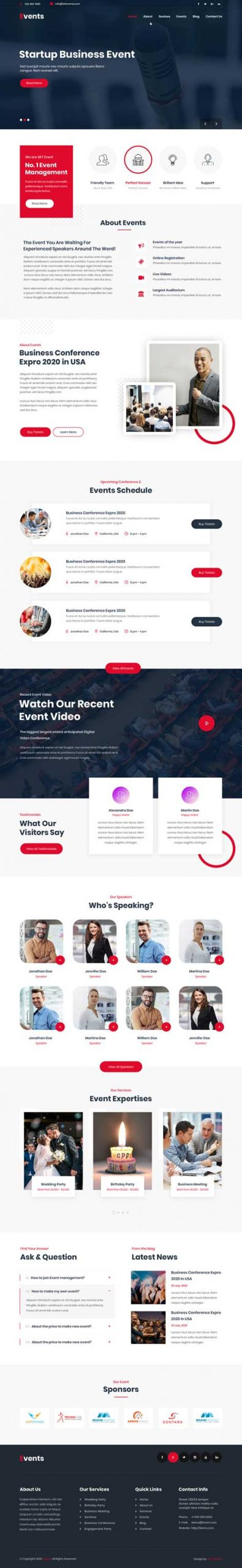 multiple events WordPress theme