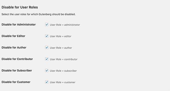 Disable Gutenberg options