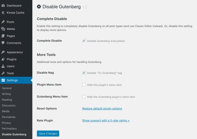 Disable Gutenberg tools